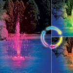 Фонтан с разноцветной подсветкой для бассейна