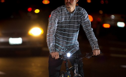 Betabrand Reflective Plaid Button-Down