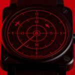 Циферблат часов Bell & Ross BR 03-92 RED RADAR CERAMIC сделан в виде радара самолета
